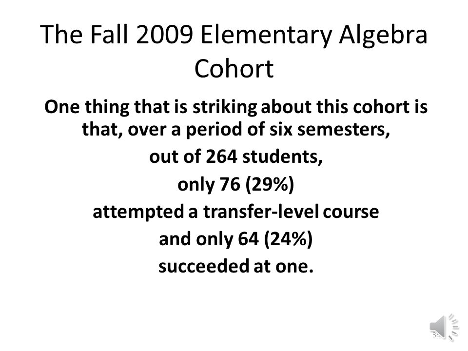 Fall 2009-Spring 2012 Cohort Entry Two Levels Below College Elementary  Intermediate Algebra Six-Semester Transferable Course Success Rate for Cohort of 264: 24.2% 76 Students114 Attempts64 Successes 29%24% 33