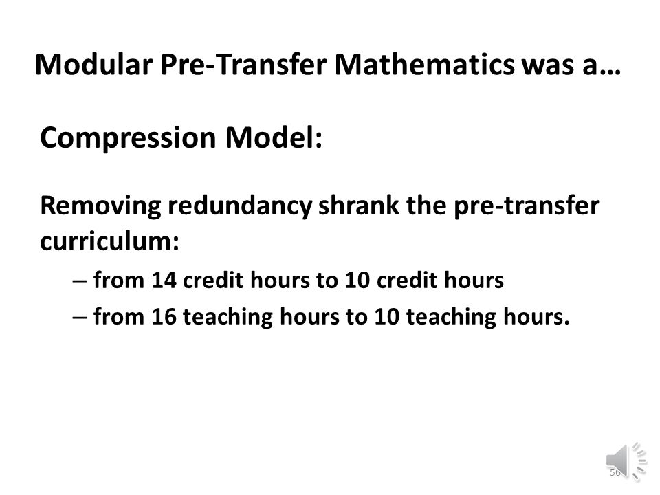 Modular pre-transfer math at Berkeley City College merged a variety of new methods being tried on campuses across the United States: 55