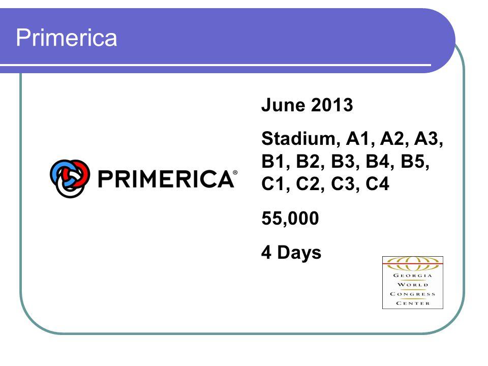 Primerica June 2013 Stadium, A1, A2, A3, B1, B2, B3, B4, B5, C1, C2, C3, C4 55,000 4 Days