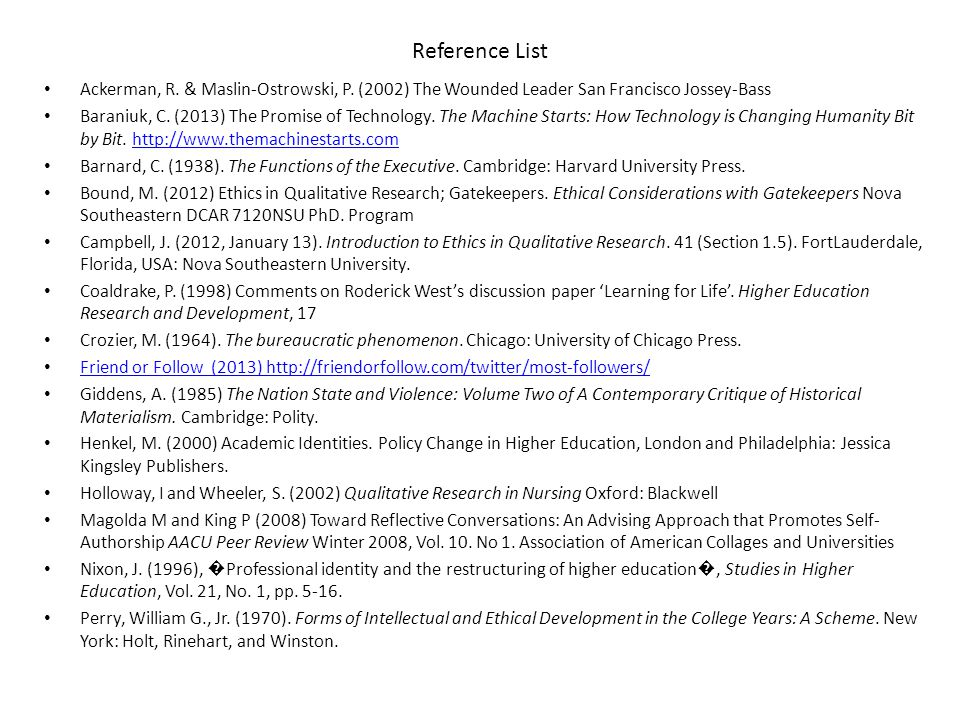 Reference List Ackerman, R. & Maslin-Ostrowski, P.