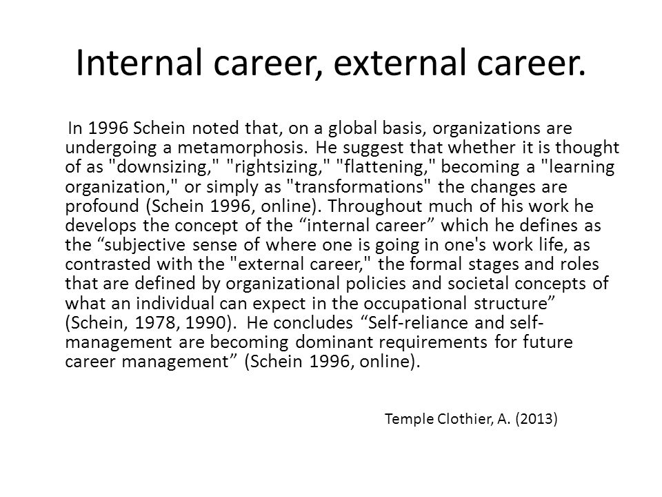 Internal career, external career.