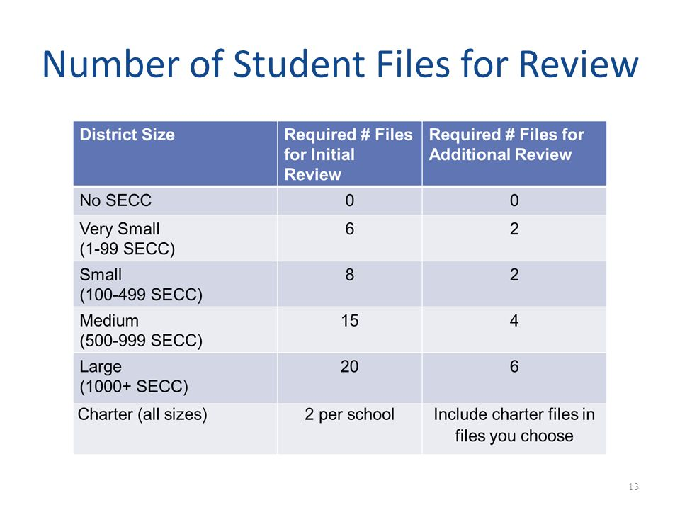 Number of Student Files for Review 13