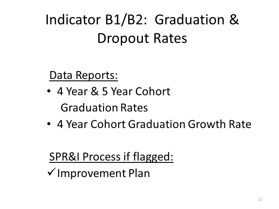 Indicator B1/B2: Graduation & Dropout Rates Data Reports: 4 Year & 5 Year Cohort Graduation Rates 4 Year Cohort Graduation Growth Rate SPR&I Process if flagged: Improvement Plan 20