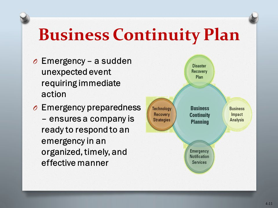 4-11 Business Continuity Plan O Emergency – a sudden unexpected event requiring immediate action O Emergency preparedness – ensures a company is ready