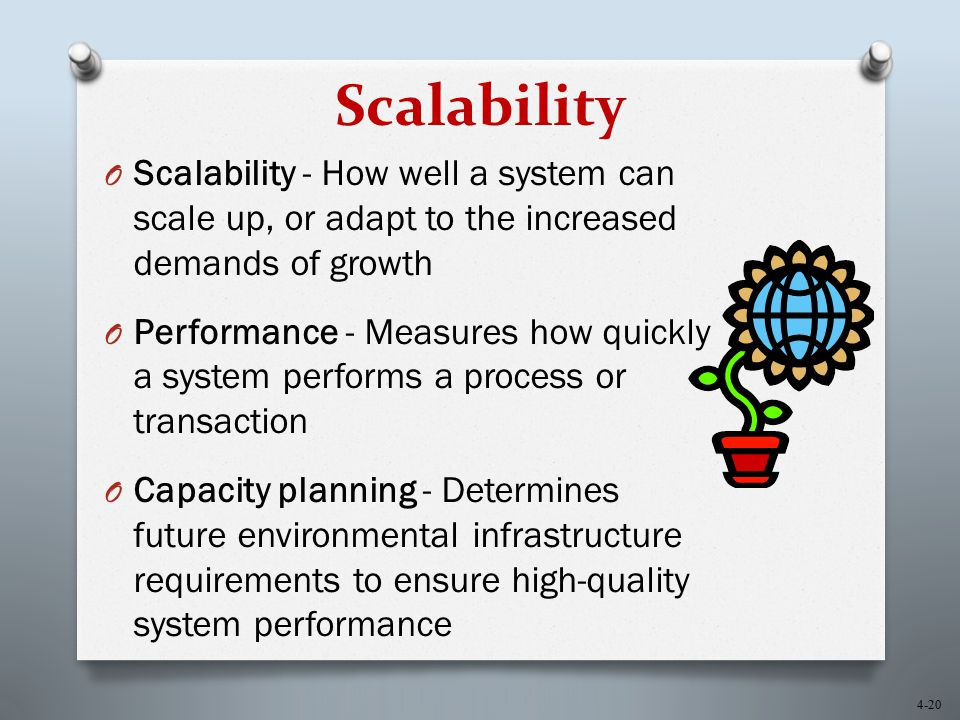 4-20 Scalability O Scalability - How well a system can scale up, or adapt to the increased demands of growth O Performance - Measures how quickly a sy