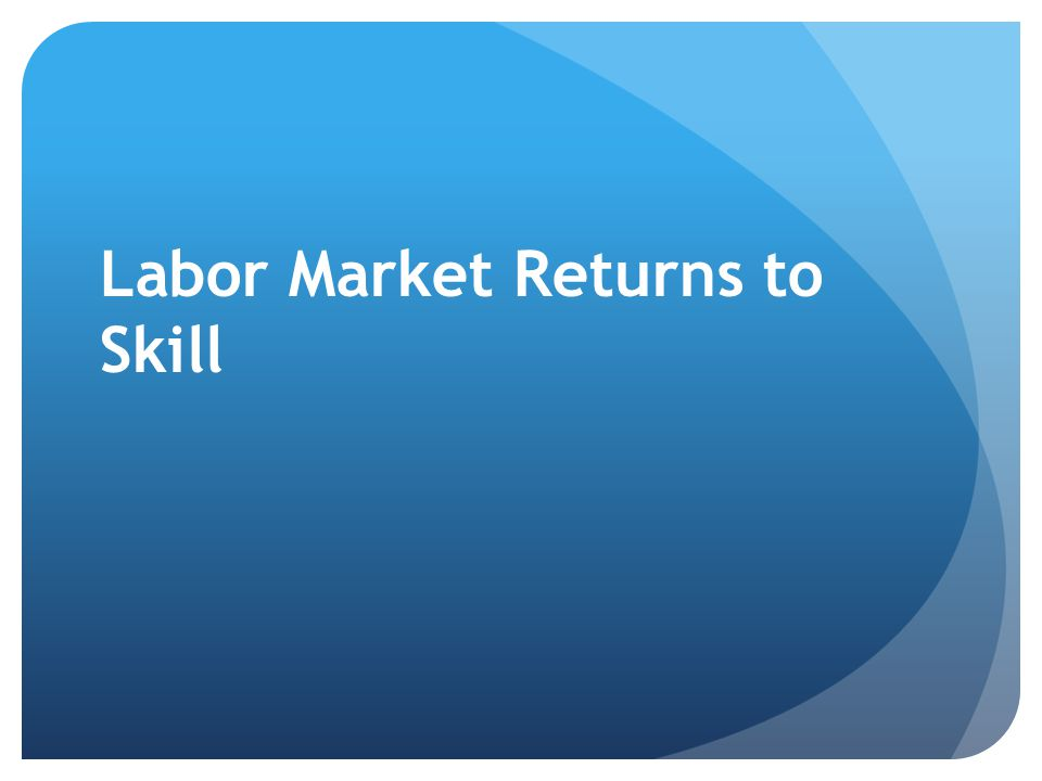 Labor Market Returns to Skill
