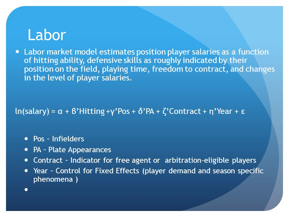 Labor Labor market model estimates position player salaries as a function of hitting ability, defensive skills as roughly indicated by their position on the field, playing time, freedom to contract, and changes in the level of player salaries.
