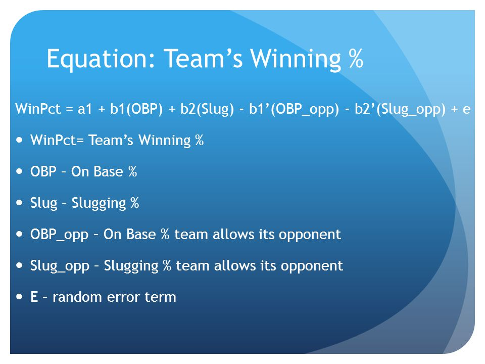 Equation: Team's Winning % WinPct = a1 + b1(OBP) + b2(Slug) - b1'(OBP_opp) - b2'(Slug_opp) + e While on-base and slugging are the standard measurements of avoiding outs and hitting for power, they also pose an empirical and a theoretical problem.
