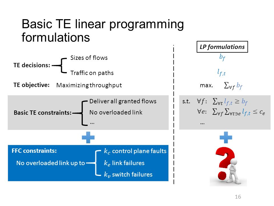 Basic TE linear programming formulations 16 Sizes of flows Deliver all granted flows No overloaded link FFC constraints: Maximizing throughput TE deci