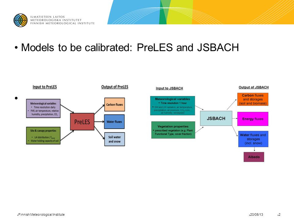 Models to be calibrated: PreLES and JSBACH 20/05/13 Finnish Meteorological Institute 2