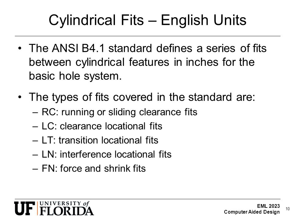 EML 2023 Computer Aided Design Cylindrical Fits – English Units The ANSI B4.1 standard defines a series of fits between cylindrical features in inches