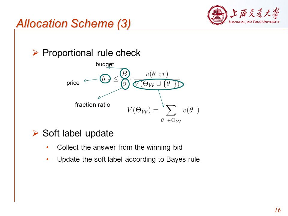 16 Allocation Scheme (3)  Proportional rule check  Soft label update Collect the answer from the winning bid Update the soft label according to Bayes rule price budget fraction ratio