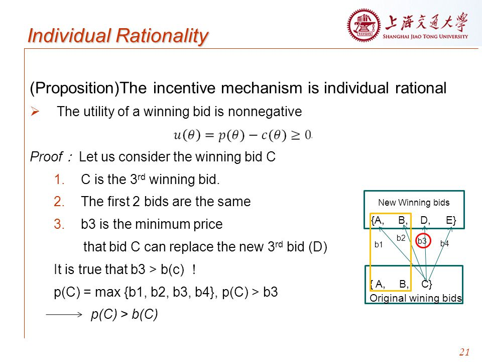 21 Individual Rationality (Proposition)The incentive mechanism is individual rational  The utility of a winning bid is nonnegative Proof : Let us consider the winning bid C 1.C is the 3 rd winning bid.