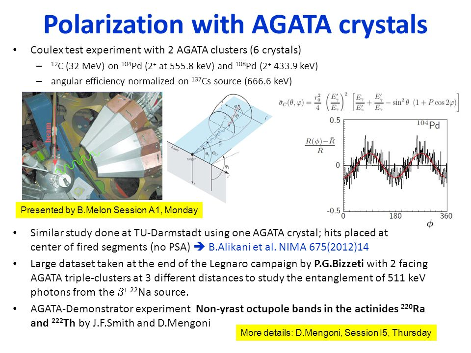 Coulex test experiment with 2 AGATA clusters (6 crystals) – 12 C (32 MeV) on 104 Pd (2 + at 555.8 keV) and 108 Pd (2 + 433.9 keV) – angular efficiency normalized on 137 Cs source (666.6 keV) Similar study done at TU-Darmstadt using one AGATA crystal; hits placed at center of fired segments (no PSA)  B.Alikani et al.