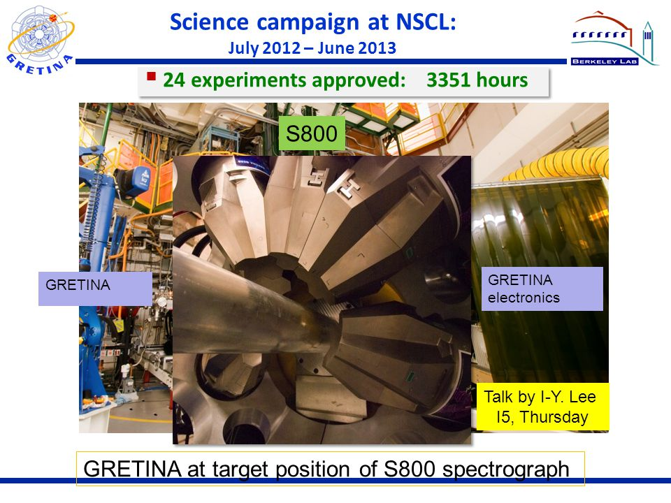 Science campaign at NSCL: July 2012 – June 2013 GRETINA S800 GRETINA electronics  24 experiments approved: 3351 hours GRETINA at target position of S800 spectrograph Talk by I-Y.