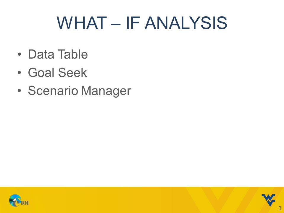 WHAT – IF ANALYSIS Data Table Goal Seek Scenario Manager 3