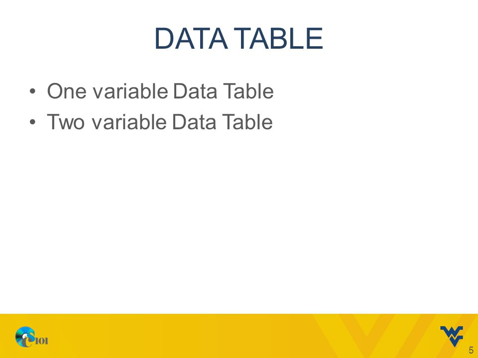DATA TABLE One variable Data Table Two variable Data Table 5