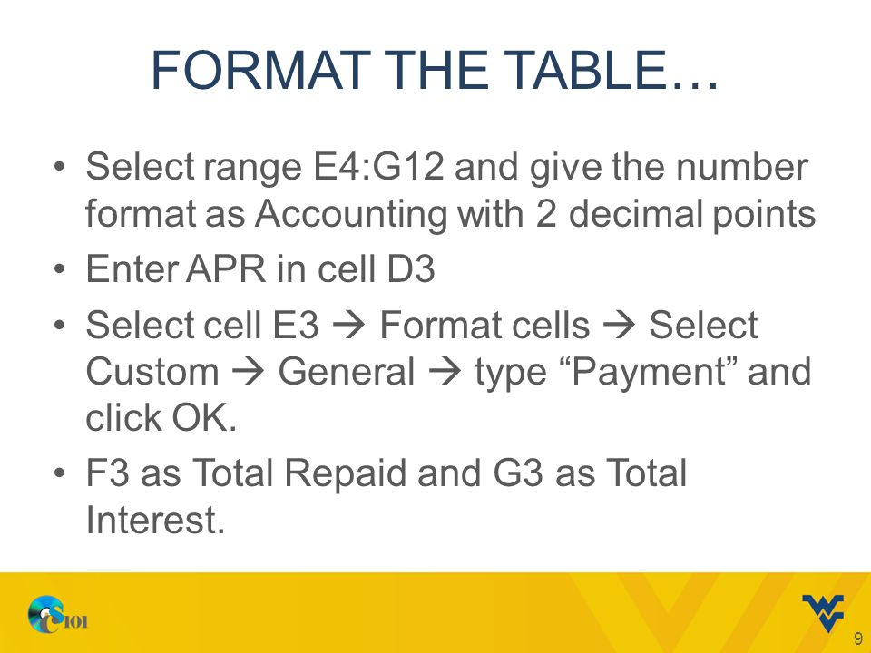 FORMAT THE TABLE… Select range E4:G12 and give the number format as Accounting with 2 decimal points Enter APR in cell D3 Select cell E3  Format cells  Select Custom  General  type Payment and click OK.