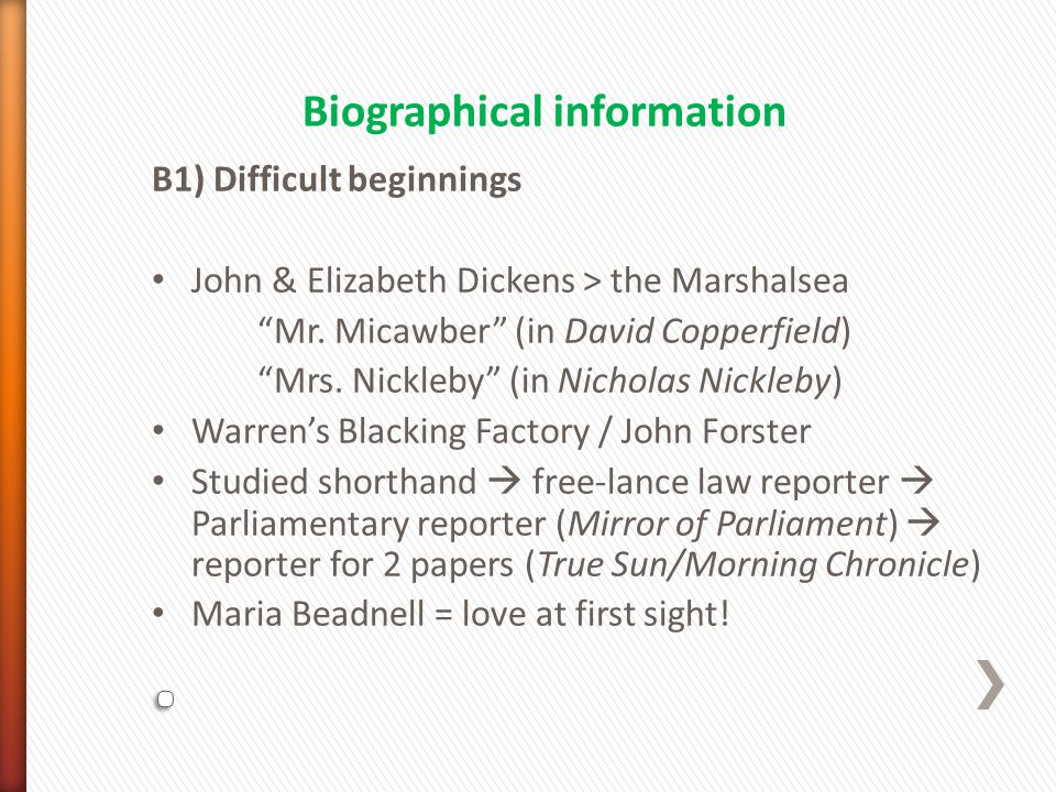 B1) Difficult beginnings John & Elizabeth Dickens > the Marshalsea Mr.