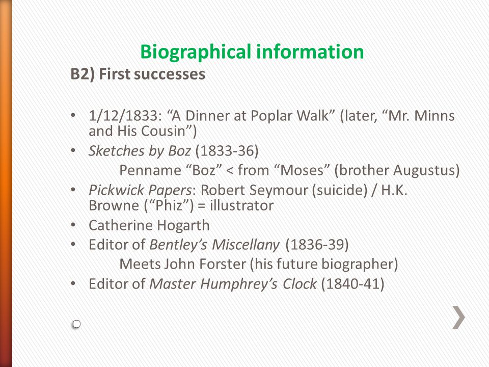 B2) First successes 1/12/1833: A Dinner at Poplar Walk (later, Mr.