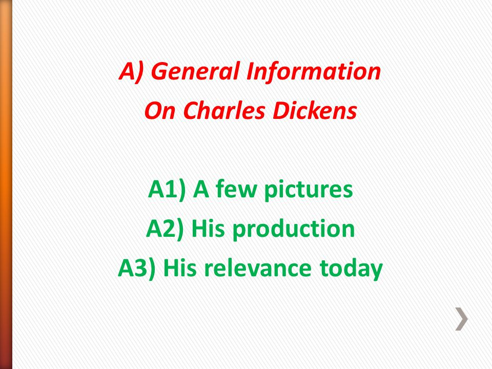 A) General Information On Charles Dickens A1) A few pictures A2) His production A3) His relevance today