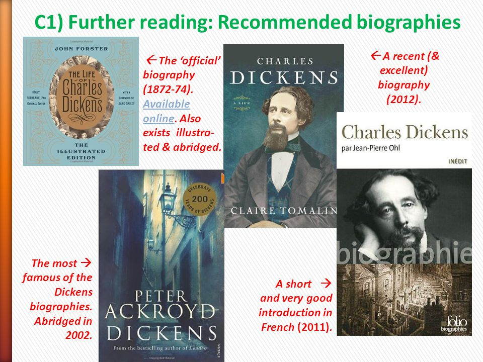C1) Further reading: Recommended biographies  The 'official' biography (1872-74).