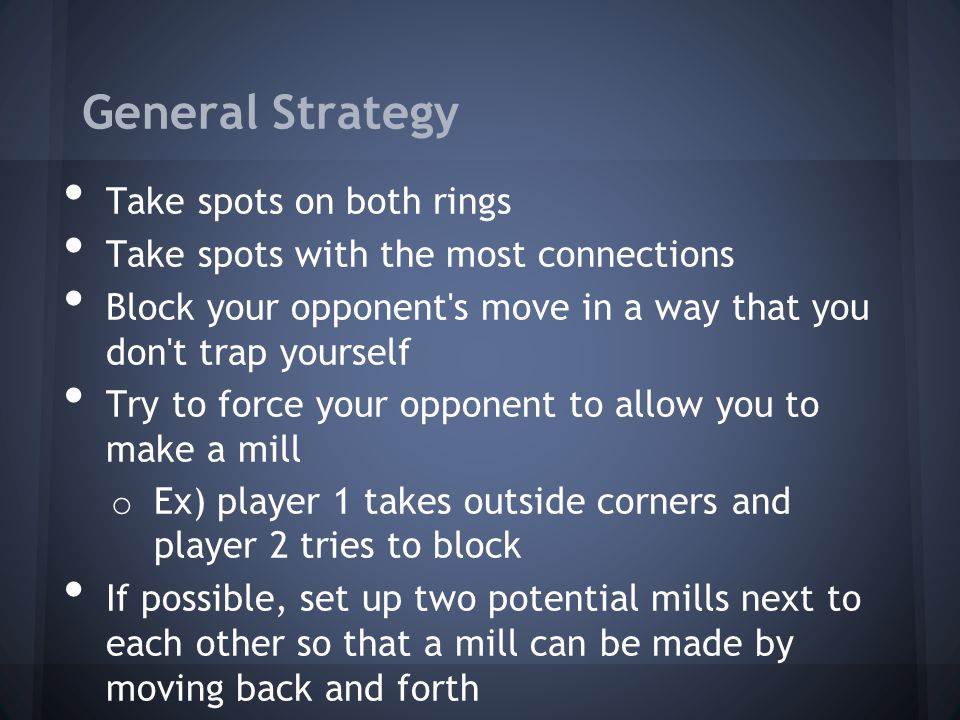 General Strategy Take spots on both rings Take spots with the most connections Block your opponent's move in a way that you don't trap yourself Try to