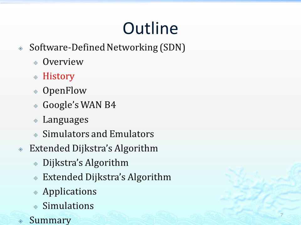 Google's WAN B4 (cont.)  Traditional WAN Routing  Treat all bits the same  30% ~ 40% average utilization  Centralized Traffic Engineering (TE)  Drive links to near 100% utilization  Fast, global convergence for failures 28