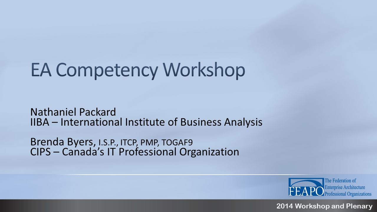 2014 Workshop and Plenary Nathaniel Packard IIBA – International Institute of Business Analysis Brenda Byers, I.S.P., ITCP, PMP, TOGAF9 CIPS – Canada's IT Professional Organization