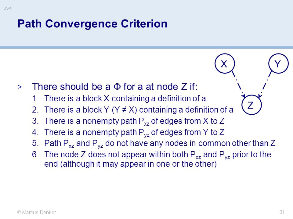 © Marcus Denker SSA Path Convergence Criterion  There should be a  for a at node Z if: 1.There is a block X containing a definition of a 2.There is a block Y (Y ≠ X) containing a definition of a 3.There is a nonempty path P xz of edges from X to Z 4.There is a nonempty path P yz of edges from Y to Z 5.Path P xz and P yz do not have any nodes in common other than Z 6.The node Z does not appear within both P xz and P yz prior to the end (although it may appear in one or the other) 31 XY Z