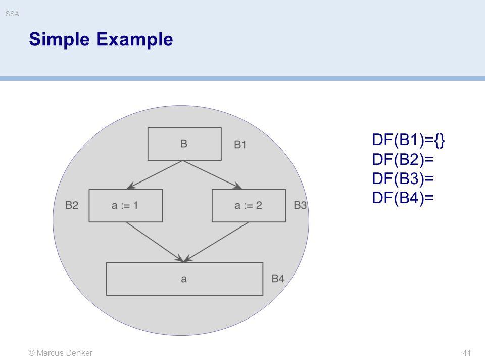 Simple Example 41 © Marcus Denker DF(B1)={} DF(B2)= DF(B3)= DF(B4)= SSA