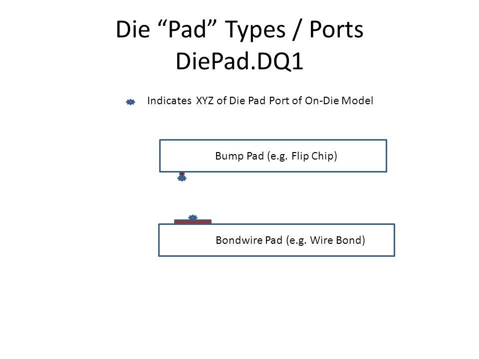 Die Pad Types / Ports DiePad.DQ1 Bump Pad (e.g. Flip Chip) Bondwire Pad (e.g.
