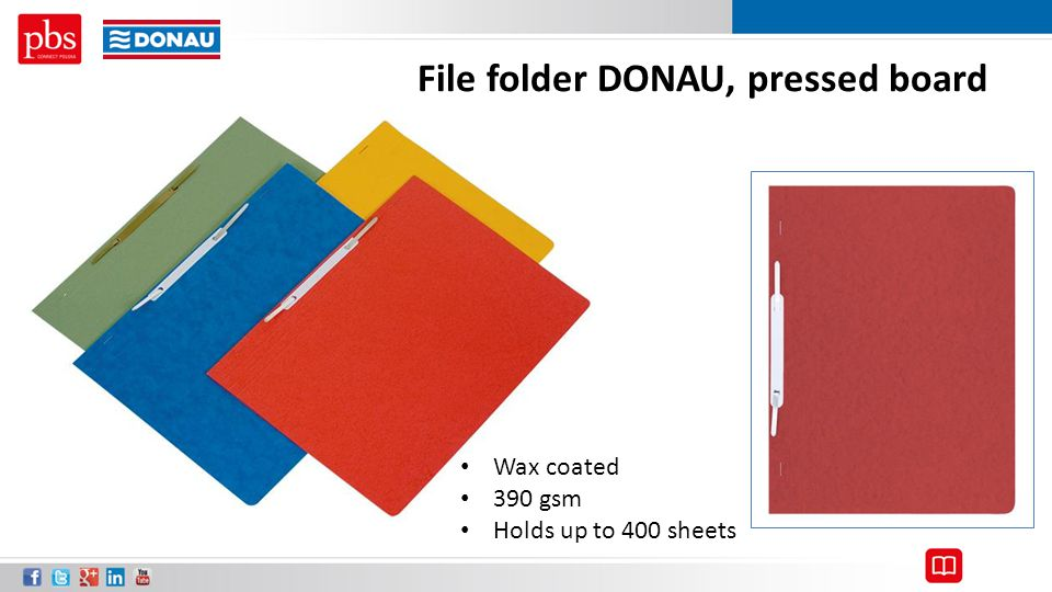 File folder DONAU, pressed board Wax coated 390 gsm Holds up to 400 sheets