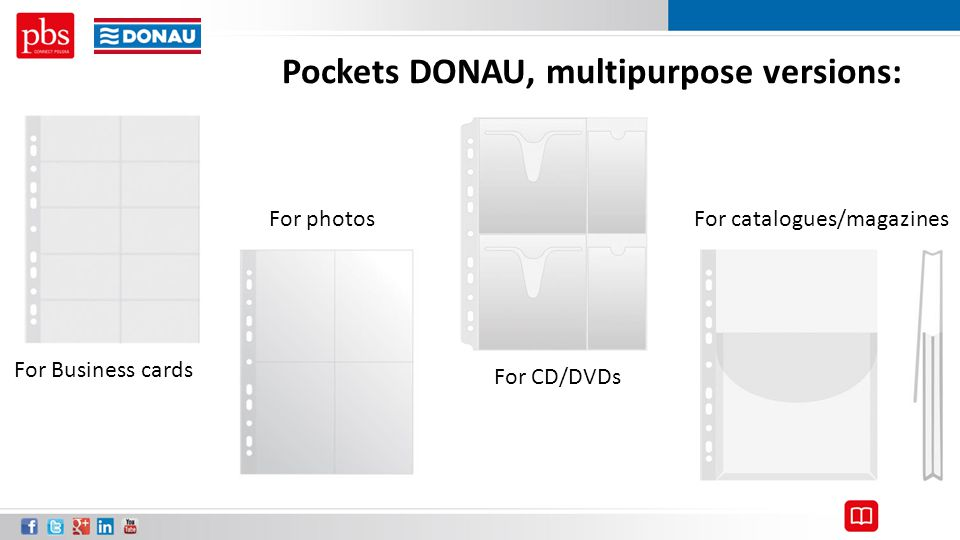 Pockets DONAU, multipurpose versions: For Business cards For photos For CD/DVDs For catalogues/magazines