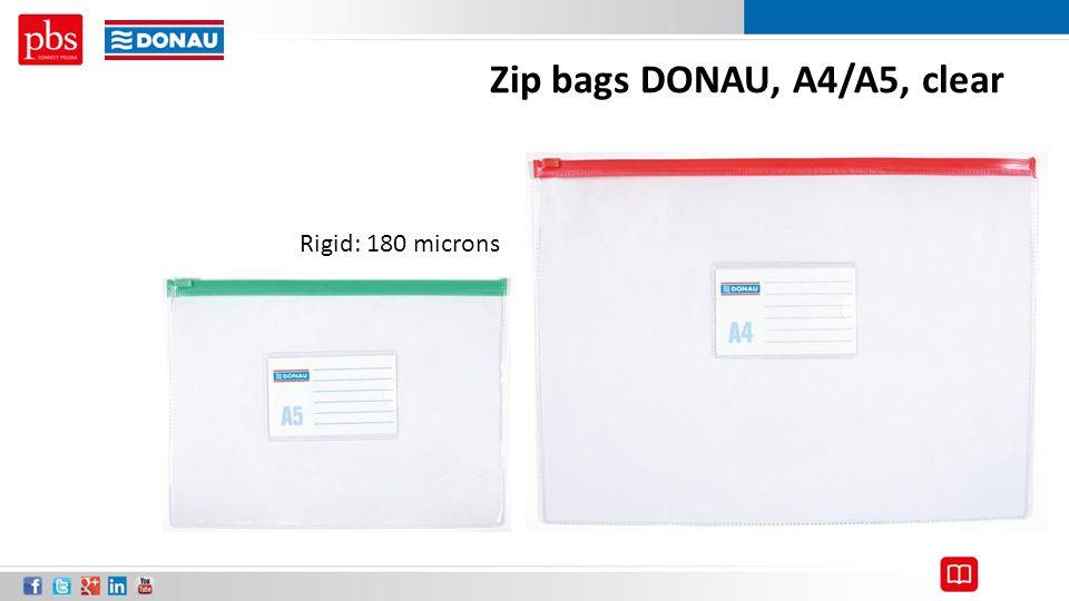 Zip bags DONAU, A4/A5, clear Rigid: 180 microns