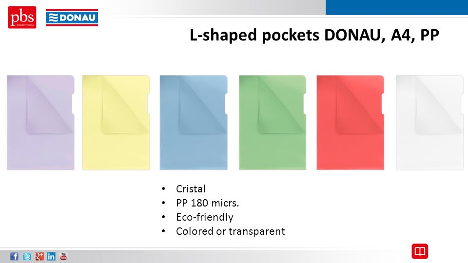 L-shaped pockets DONAU, A4, PP Cristal PP 180 micrs. Eco-friendly Colored or transparent