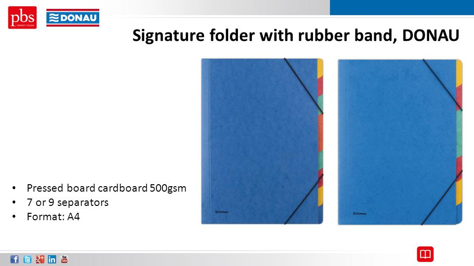 Signature folder with rubber band, DONAU Pressed board cardboard 500gsm 7 or 9 separators Format: A4