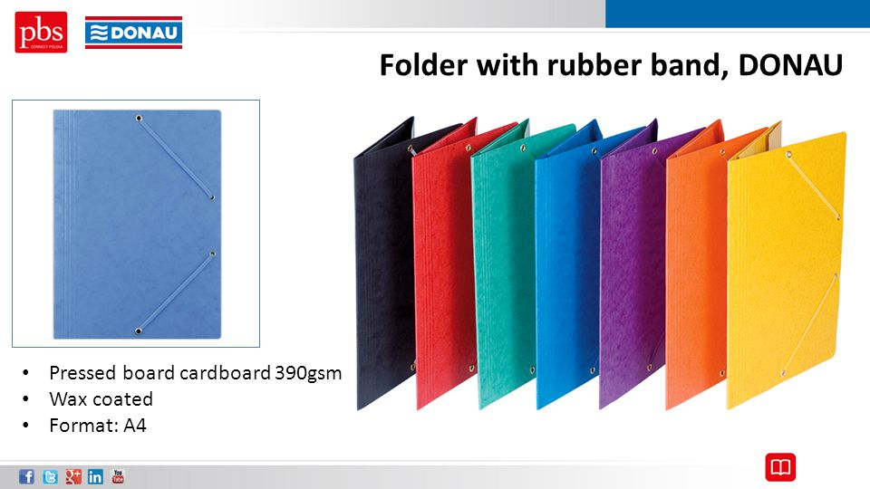 Folder with rubber band, DONAU Pressed board cardboard 390gsm Wax coated Format: A4