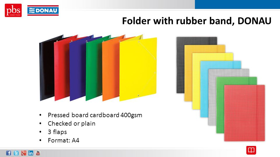 Folder with rubber band, DONAU Pressed board cardboard 400gsm Checked or plain 3 flaps Format: A4