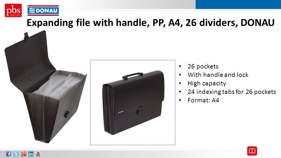Expanding file with handle, PP, A4, 26 dividers, DONAU 26 pockets With handle and lock High capacity 24 indexing tabs for 26 pockets Format: A4