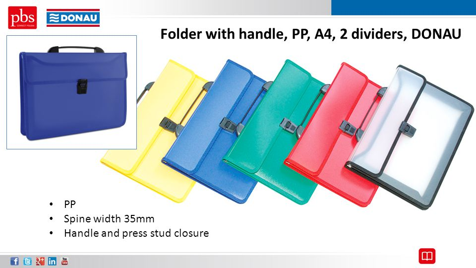 Folder with handle, PP, A4, 2 dividers, DONAU PP Spine width 35mm Handle and press stud closure
