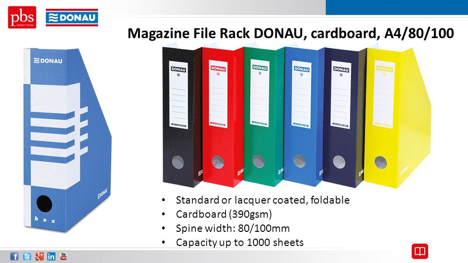 Magazine File Rack DONAU, cardboard, A4/80/100 Standard or lacquer coated, foldable Cardboard (390gsm) Spine width: 80/100mm Capacity up to 1000 sheet