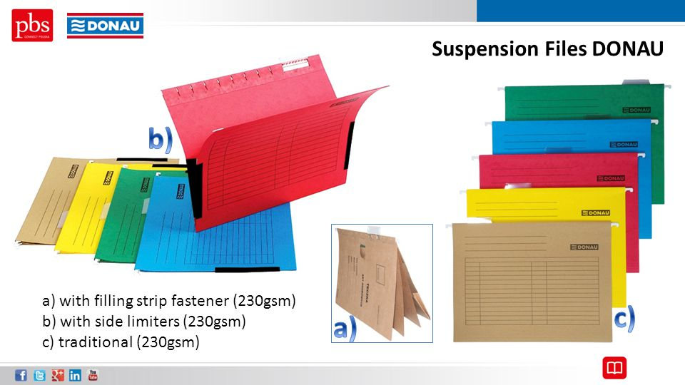Suspension Files DONAU a) with filling strip fastener (230gsm) b) with side limiters (230gsm) c) traditional (230gsm)