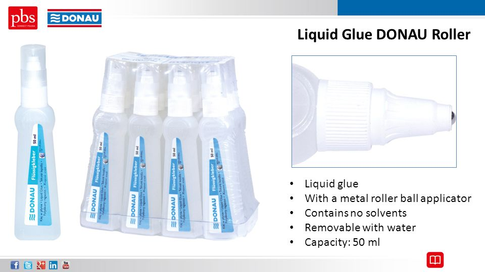 Liquid Glue DONAU Roller Liquid glue With a metal roller ball applicator Contains no solvents Removable with water Capacity: 50 ml