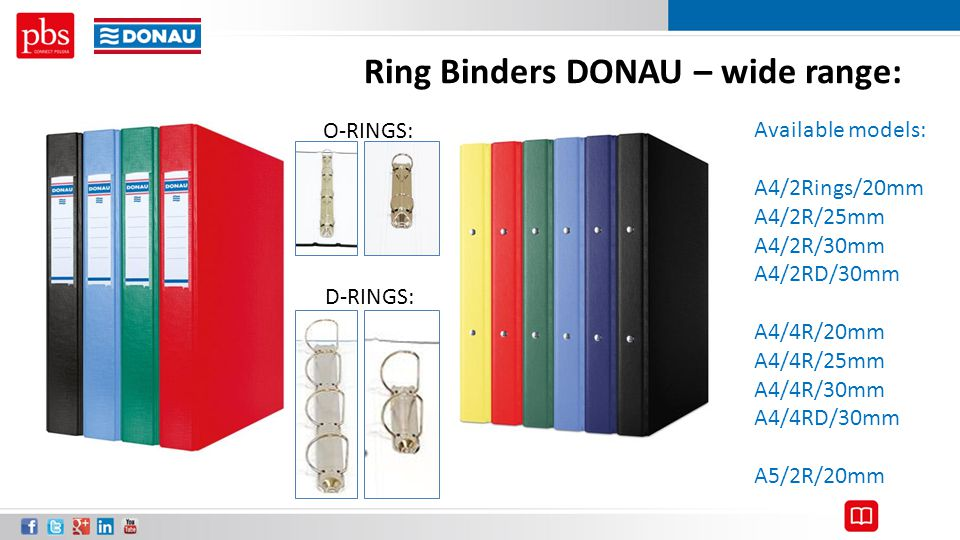 Ring Binders DONAU – wide range: Available models: A4/2Rings/20mm A4/2R/25mm A4/2R/30mm A4/2RD/30mm A4/4R/20mm A4/4R/25mm A4/4R/30mm A4/4RD/30mm A5/2R