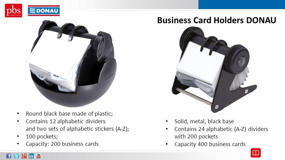 Business Card Holders DONAU Solid, metal, black base Contains 24 alphabetic (A-Z) dividers with 200 pockets Capacity 400 business cards Round black ba