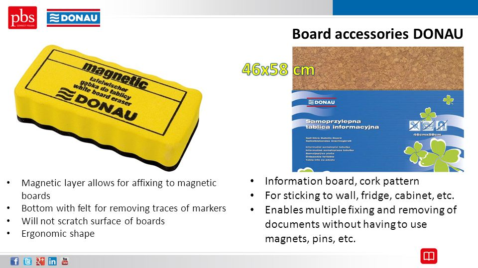 Magnetic layer allows for affixing to magnetic boards Bottom with felt for removing traces of markers Will not scratch surface of boards Ergonomic sha