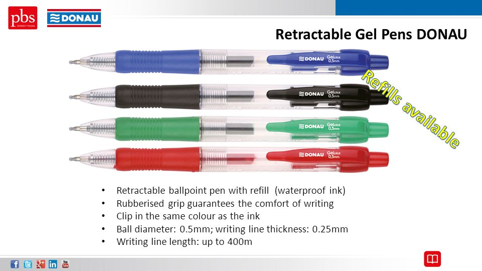 Retractable Gel Pens DONAU Retractable ballpoint pen with refill (waterproof ink) Rubberised grip guarantees the comfort of writing Clip in the same c