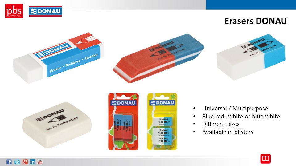 Erasers DONAU Universal / Multipurpose Blue-red, white or blue-white Different sizes Available in blisters