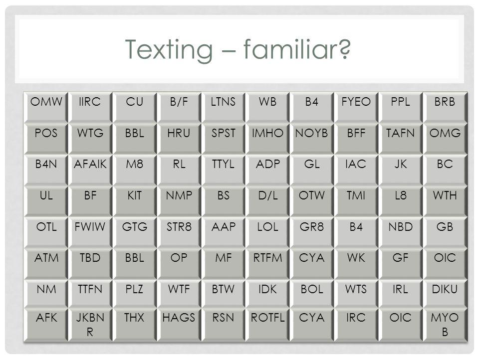 Texting – familiar